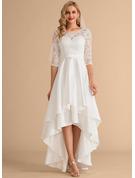 A-Linje Rund-urringning Asymmetrisk Satäng Spets Bröllopsklänning