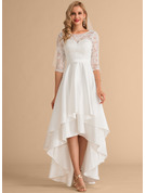 Corte A Decote redondo Assimétrico Cetim Renda Vestido de noiva