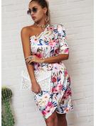 Floreale Stampa Aderente 1/2 maniche Mini Partito Elegante Vestiti di moda