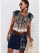 フローラル 印刷 シースドレス キャップスリーブ ミディ 生きます ファッションドレス
