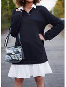 Color Block Shiftklänningar Långa ärmar Mini Fritids Modeklänningar
