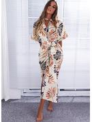 印刷 シースドレス 1/2袖 ミディ カジュアル 休暇 ファッションドレス
