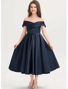 Çan Off-Omuz Uzun Etekli Saten Küçük Nedime Elbisesi Ile Büzgü Cepler