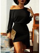 Sólido Ajustado Manga Larga Asimétrico Pequeños Negros Elegante Vestidos de moda