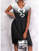 Impresión Corazón Degradada Cubierta Sin mangas Midi Casual Vestidos de moda