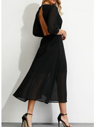 Solid A-line 3/4 Sleeves Midi Party Elegant Sexy Wrap Dresses