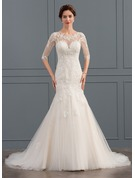 Trumpet/Mermaid Illusion Court Train Tulle Wedding Dress With Sequins