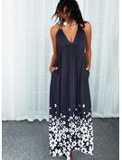 Blumen Druck Rückenfrei A-Linien-Kleid Ärmellos Maxi Lässige Kleidung Skater Modekleider