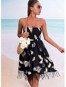 Impresión Vestido línea A Sin mangas Mini Casual Vacaciones Patinador Vestidos de moda