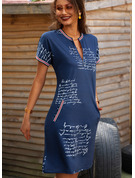 Print Åtsittande Korta ärmar Midi Fritids Penna Modeklänningar