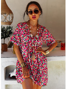 Fleurie Imprimé Coupe droite Manches Courtes Mini Décontractée Vacances Tunique Robes tendance