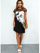 Color Block Blommig Print Shiftklänningar Korta ärmar Mini Fritids Tunika Modeklänningar