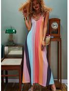 Tie Dye Sukienka Trapezowa Bez Rękawów Maxi Nieformalny Wakacyjna Rodzaj Modne Suknie