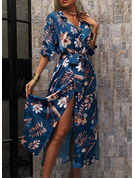 フローラル 印刷 Aラインワンピース 3/4袖 マキシ カジュアル 休暇 シャツワンピース スケーター ファッションドレス