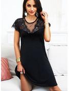 Sólido Vestidos sueltos Manga Corta Midi Pequeños Negros Casual Vestidos de moda