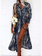 Druck A-Linien-Kleid Lange Ärmel Maxi Lässige Kleidung Urlaub Skater Modekleider