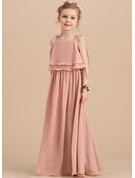 Çan/Prenses Uzun Etekli Çiçek Kız Elbise - Şifon Kolsuz Kare Yaka/Omuz askıları Ile Büzgü
