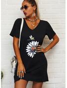Animaliska Tryck Blommig Shiftklänningar Korta ärmar Mini Fritids t-shirt Modeklänningar