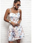 Kwiatowy Nadruk Sukienka Trapezowa Bez Rękawów Mini Nieformalny Wakacyjna Łyżwiaż Rodzaj Modne Suknie