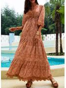 Koronka Jednolity Sukienka Trapezowa Rękawy 1/2 Maxi Boho Nieformalny Wakacyjna Łyżwiaż Modne Suknie