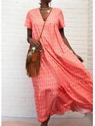 印刷 シフトドレス 半袖 マキシ カジュアル ファッションドレス
