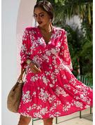 Blomster Print Skiftekjoler 3/4 ærmer Midi Casual Tunika Mode kjoler