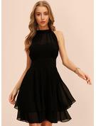 Sólido Vestido línea A Sin mangas Midi Pequeños Negros Fiesta Vestidos de moda