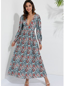 Imprimé Robe trapèze Manches Longues Maxi Boho Vacances Patineur Robes tendance