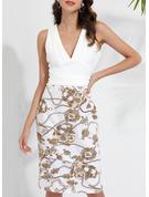 Blommig Print Åtsittande Ärmlös Midi Party Modeklänningar