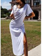 Solid Shift Short Sleeves Maxi Casual T-shirt Dresses