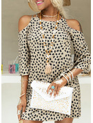 Leopard Print Shift 3/4 Sleeves Cold Shoulder Sleeve Mini Casual Dresses