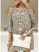 Leopard Print Shiftklänningar 3/4 ärmar Kall axel Mini Fritids Modeklänningar