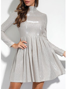 Solid A-line Long Sleeves Midi Party Elegant Dresses