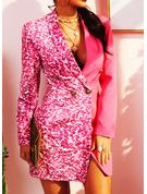 スパンコール ボディコンドレス 長袖 ミニ カジュアル エレガント ファッションドレス
