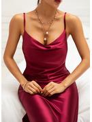 Solid Sheath Sleeveless Midi Party Sexy Type Dresses