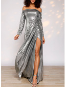 Solid Sheath Long Sleeves Maxi Party Elegant Dresses