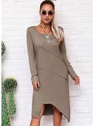 Solid Shiftklänningar Långa ärmar Midi Fritids Tunika Modeklänningar