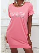 Print Heart Letter Bodycon Short Sleeves Mini Casual T-shirt Dresses