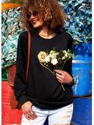 Animalske Udskriv Sunflower Print Figur Rund hals Lange ærmer Sweatshirts