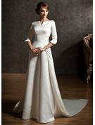 A-linjeformat Off-shoulder Watteau släp Satäng Bröllopsklänning