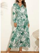 Estampado Vestido linha-A Manga Comprida Maxi Casual férias Vestidos-camisas Vestidos na Moda