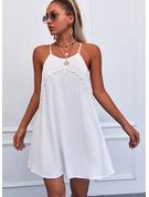 Koronka Jednolity Suknie shift Bez Rękawów Mini Nieformalny Rodzaj Modne Suknie