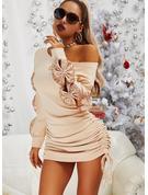 Pailletten Einfarbig Figurbetont Lange Ärmel Mini Lässige Kleidung Modekleider
