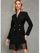 Pizzo Solido A trapezio Maniche lunghe Mini Piccolo nero Elegante Vestiti di moda