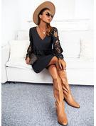 Solid A-linjeklänning Långa ärmar Midi Fritids skater Modeklänningar