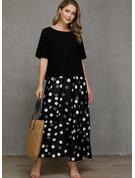 水玉模様 シフトドレス 半袖 マキシ カジュアル ファッションドレス