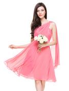 A-Linie/Princess-Linie Eine Schulter Knielang Chiffon Brautjungfernkleid mit Rüschen