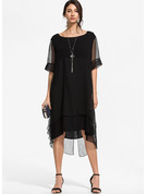Solid Skiftekjoler 1/2 ærmer Midi Den lille sorte Casual Elegant Tunika Mode kjoler