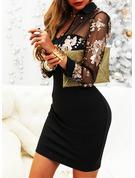 Blommig Print Åtsittande Långa ärmar Mini Elegant Modeklänningar
