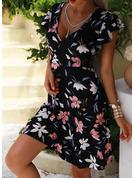 Blumen Druck A-Linien-Kleid Kurze Ärmel Midi Lässige Kleidung Urlaub Skater Modekleider